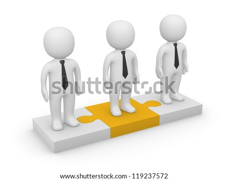 3d people standing on puzzle pieces. 3d rendering.