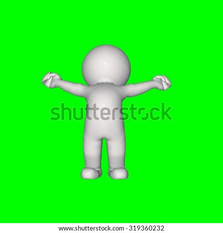 3D people - stretch 3 - green screen