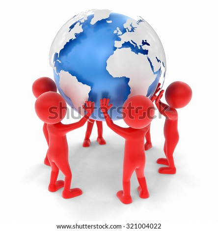 3D people support the world. Image with clipping path Elements of this image furnished by NASA - stock photo