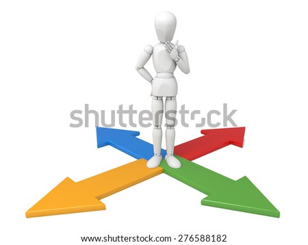 3d people surrounded by directional signs. 3d image. Isolated white background - stock photo