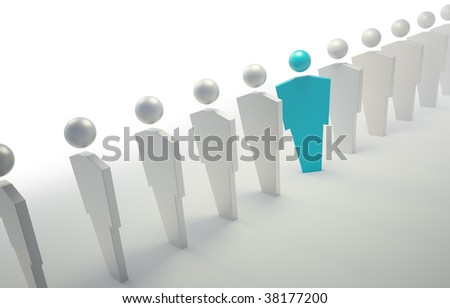 3D people symbols - blue unique character in a line - stock photo