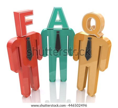 3d people thinking about frequently asked questions. FAQ in the design of the information related to the Frequently Asked Question. 3d illustration - stock photo