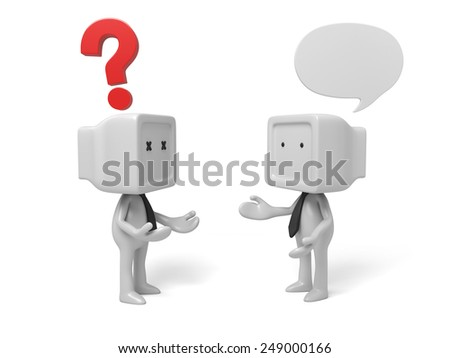 3d people thinking in a pile of question marks. 3d image. Isolated white background - stock photo