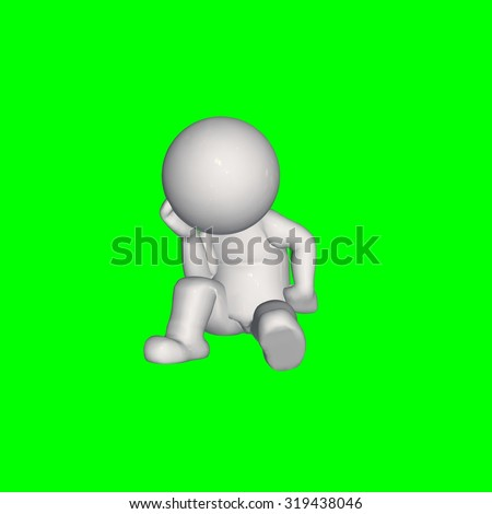 3D people -  thinks - green screen