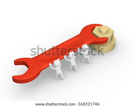 3d people tightening a screw nut - stock photo