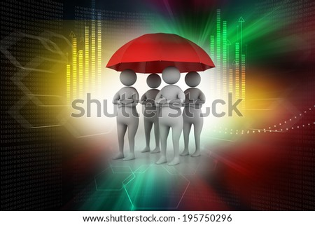 3d people under a red umbrella, team work concept - stock photo