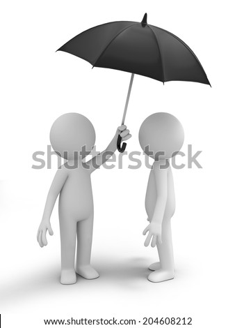 3d people under an umbrella Isolated on White Background - stock photo