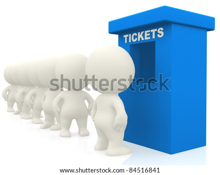3D people waiting in line for tickets - isolated over white