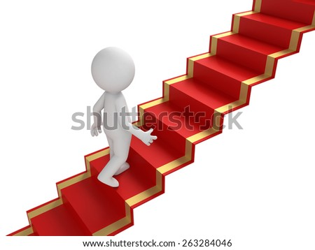 3d people walking on the red carpet. 3d image. Isolated white background