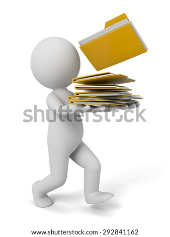 3d people walking with some folders. 3d image. Isolated white background - stock photo