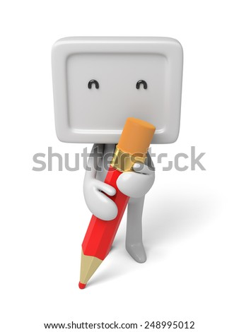 3d people with a big pencil. 3d image. Isolated white background - stock photo