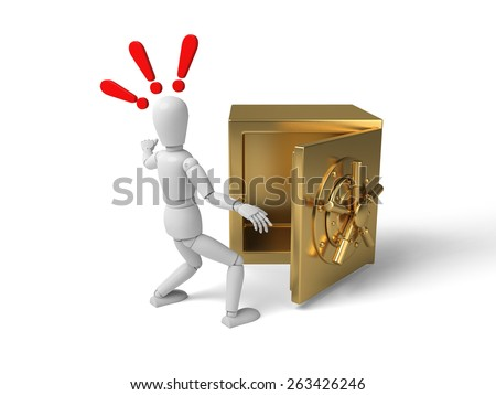 3d people with a big safe. 3d image. Isolated white background - stock photo