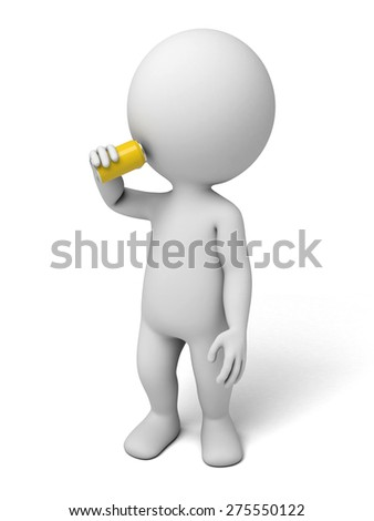 3d people with a can. 3d image. Isolated white background