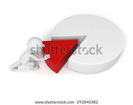 3d people with a chart. 3d image. Isolated white background
