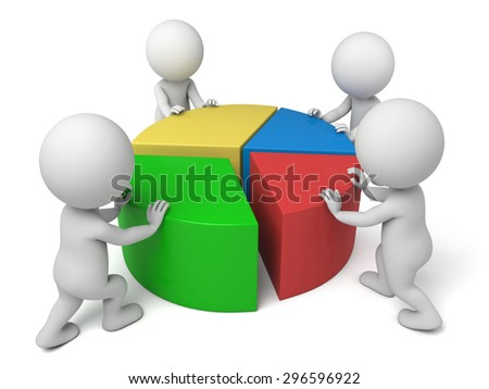 3d people with a chart. 3d image. Isolated white background - stock photo