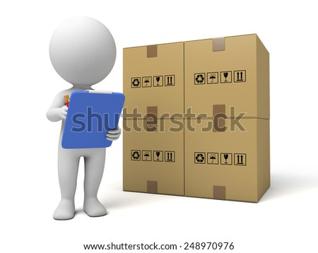 3d people with a clipboard and goods. 3d image. Isolated white background - stock photo