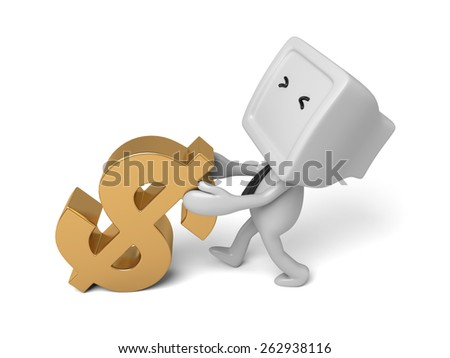 3d people with a dollar sign. 3d image. Isolated white background - stock photo