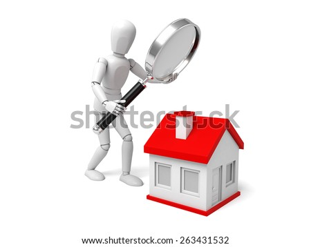 3d people with a magnifying glass and a house. Search new house - stock photo
