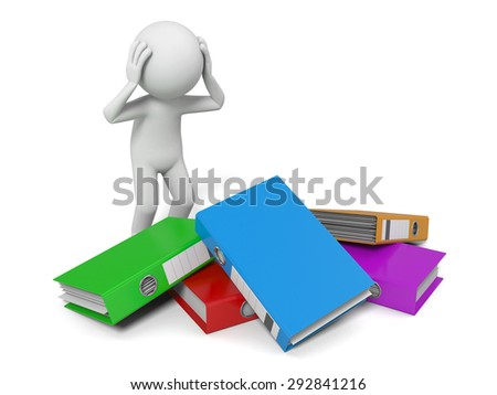 3d people with a pile of Ring Binders. 3d image. Isolated white background - stock photo