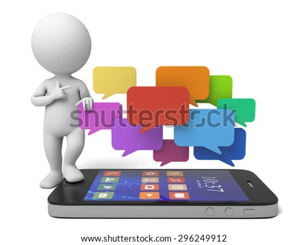 3d people with a smart phone and some speech bubble. 3d image. Isolated white background. - stock photo