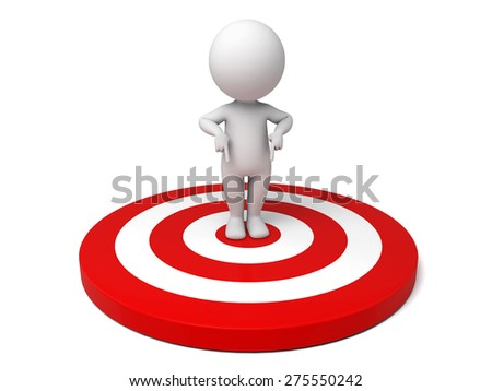 3d people with a target. 3d image. Isolated white background - stock photo