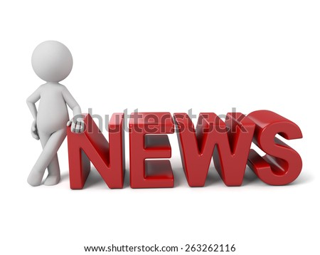 3d people with a word, news concept. 3d image. Isolated white background.