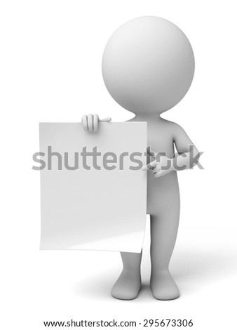 3d people with an empty paper in hands. 3d image. Isolated white background.