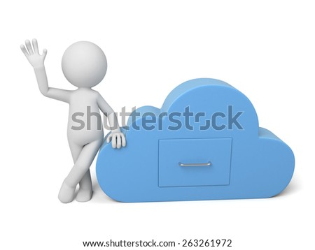 3d people with cloud. Cloud computing concept. 3d image. Isolated white background - stock photo