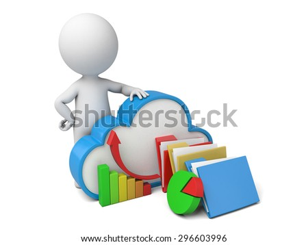 3d people with cloud symbol. Cloud computing concept. 3d image. Isolated white background - stock photo