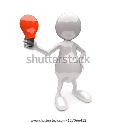 3D People with Lighting Bulb Red on White Background