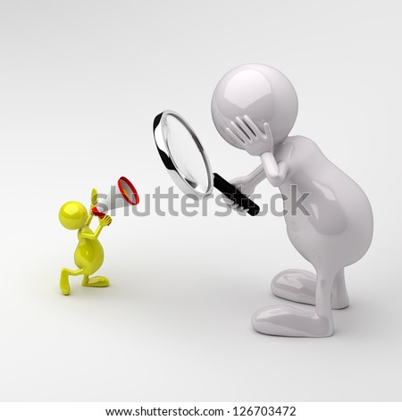3D People with Magnifying glass and Megaphone - stock photo