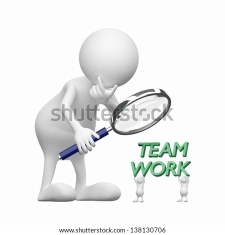 3D people with Magnifying Glass and word teamwork - stock photo