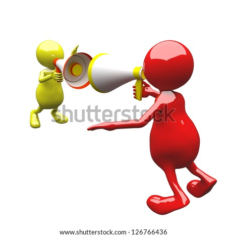 3D People with megaphone red and yellow - stock photo