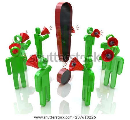 3D people with megaphones around the exclamation mark  - stock photo