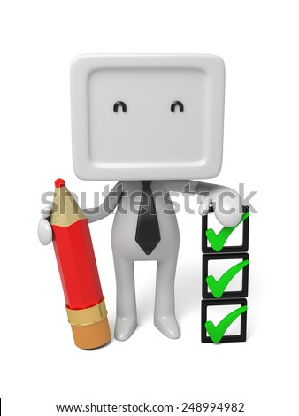 3d people with some checkmarks and a pencil. 3d image. Isolated white background - stock photo