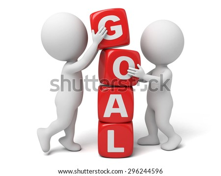 3d people with some cubes, the word of goal. 3d image. Isolated white background.