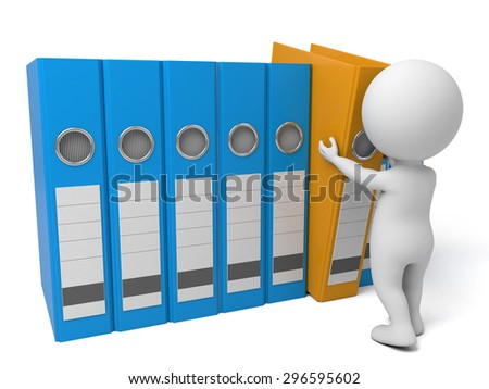 3d people with some Ring Binders. 3d image. Isolated white background - stock photo