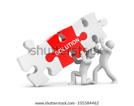 3d people with stack of puzzle. Image contain clipping path - stock photo