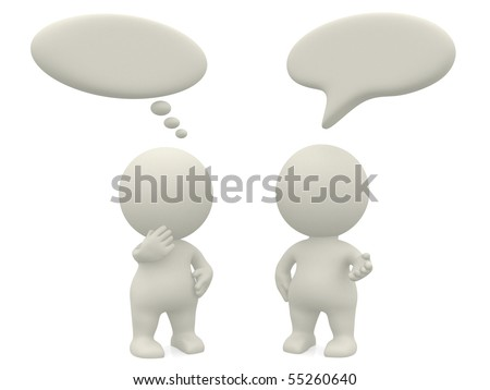 3D people with talk or thought bubbles - isolated over a white background - stock photo
