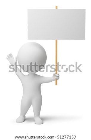 3d people with the blank announcement in hands. 3d image. Isolated white background. - stock photo