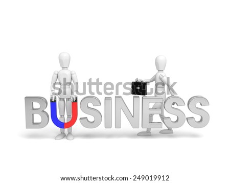 3d people with the text of business, To attract talents. 3d image. Isolated white background