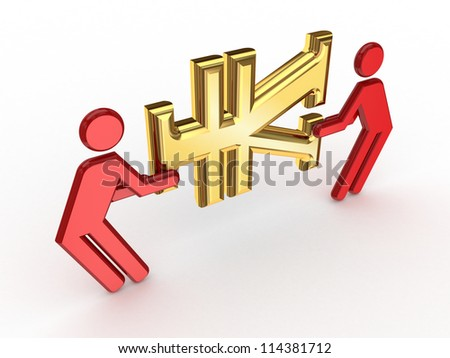 3d people with yen symbol in a hands.Isolated on white background.3d rendered. - stock photo