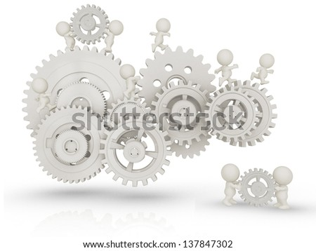 3D people working as a team assembling cogwheels - isolated over white - stock photo