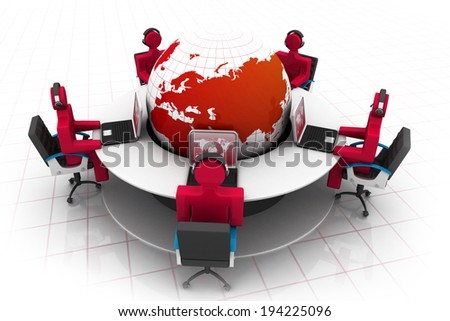3d people working on office , roundtable and globe