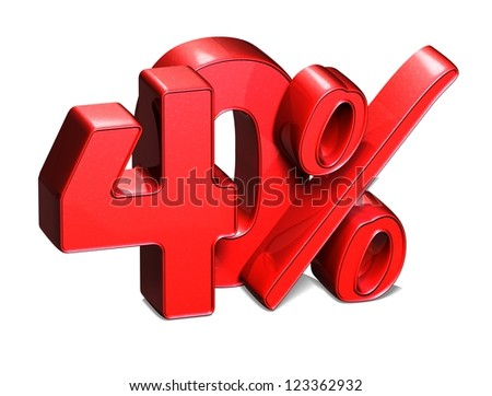 3D 40 Percent on white background - stock photo