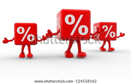 3d percentage sign. %. 3d render - stock photo