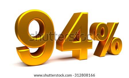 3D percents text, with big golden fonts isolated on white background. Rendered illustration.