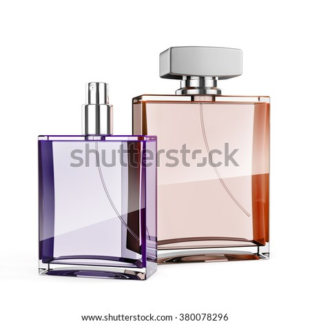 3d perfume bottle on white background - stock photo