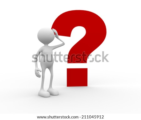 3d  person and a question mark. Confused - stock photo