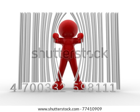 3d person and bar code ( barcode) - This is a 3d render illustration - stock photo